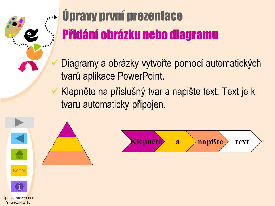 Konec Úpravy první prezentace Přidání obrázku nebo diagramu  Diagramy a obrázky vytvořte pomocí automatických tvarů aplikace PowerPoint.  Klepněte n
