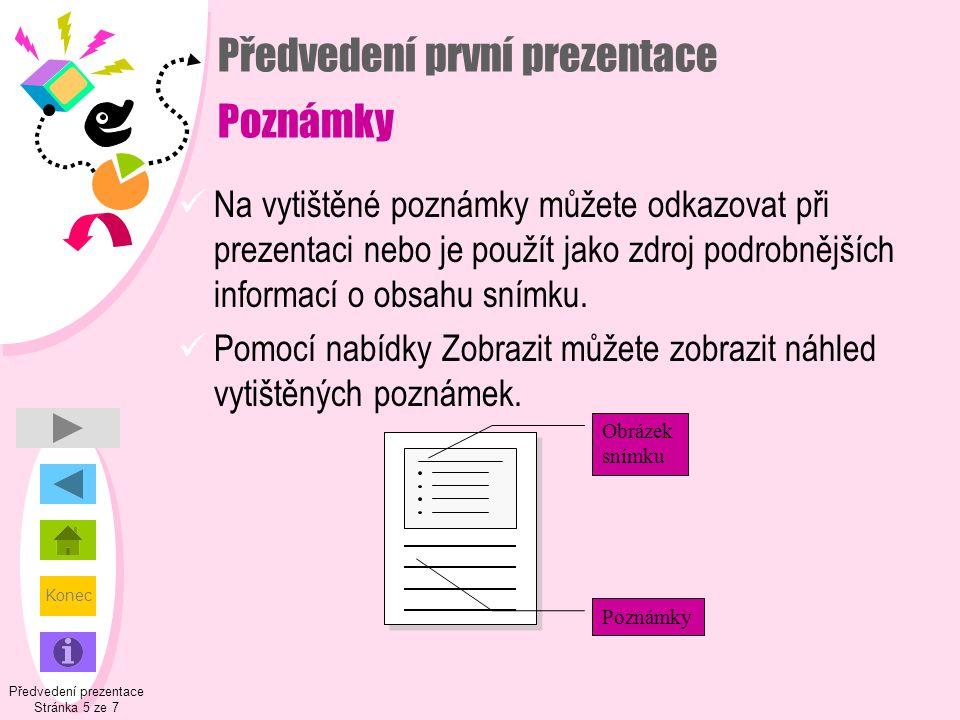 Konec Předvedení první prezentace Poznámky  Na vytištěné poznámky můžete odkazovat při prezentaci nebo je použít jako zdroj podrobnějších informací o