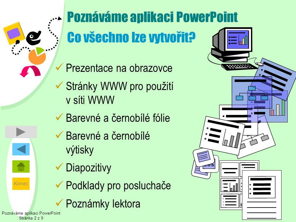Konec Poznáváme aplikaci PowerPoint Co všechno lze vytvořit?  Prezentace na obrazovce  Stránky WWW pro použití v síti WWW  Barevné a černobílé fóli