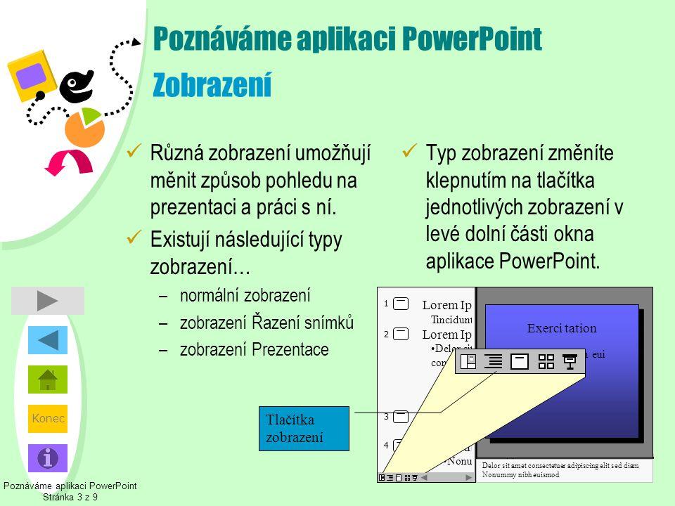 Konec Poznáváme aplikaci PowerPoint Zobrazení  Různá zobrazení umožňují měnit způsob pohledu na prezentaci a práci s ní.  Existují následující typy