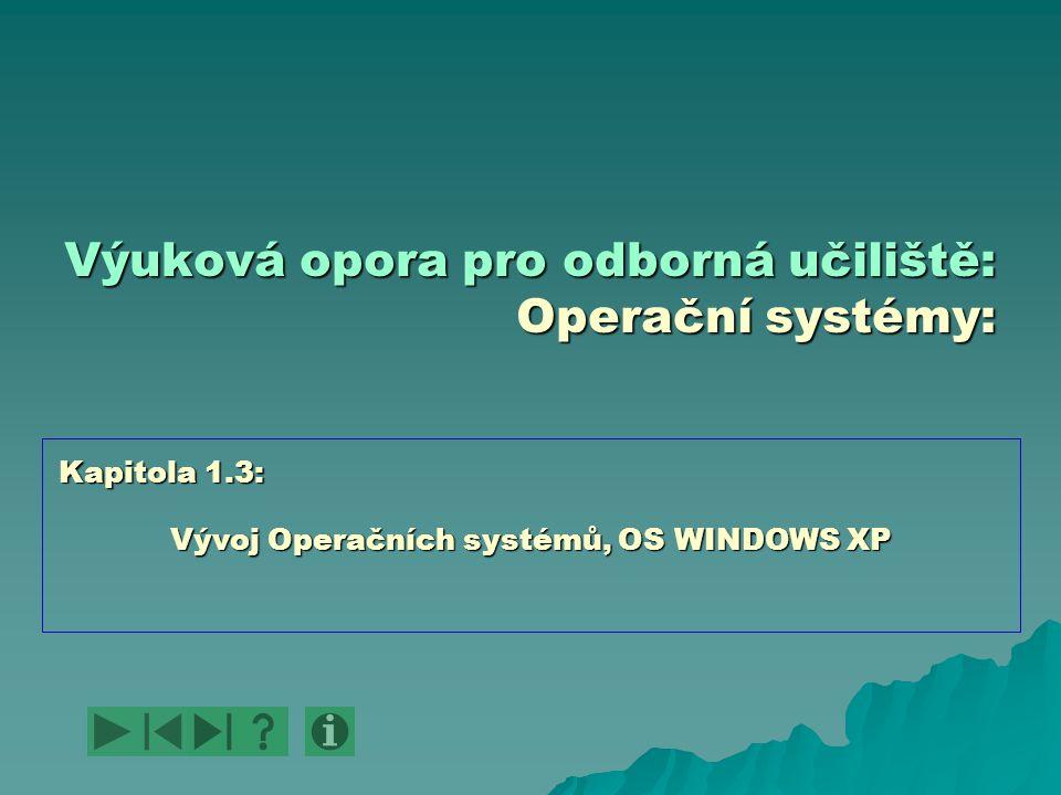 Výuková opora pro odborná učiliště: Operační systémy: Vývoj Operačních systémů, OS WINDOWS XP Kapitola 1.3: