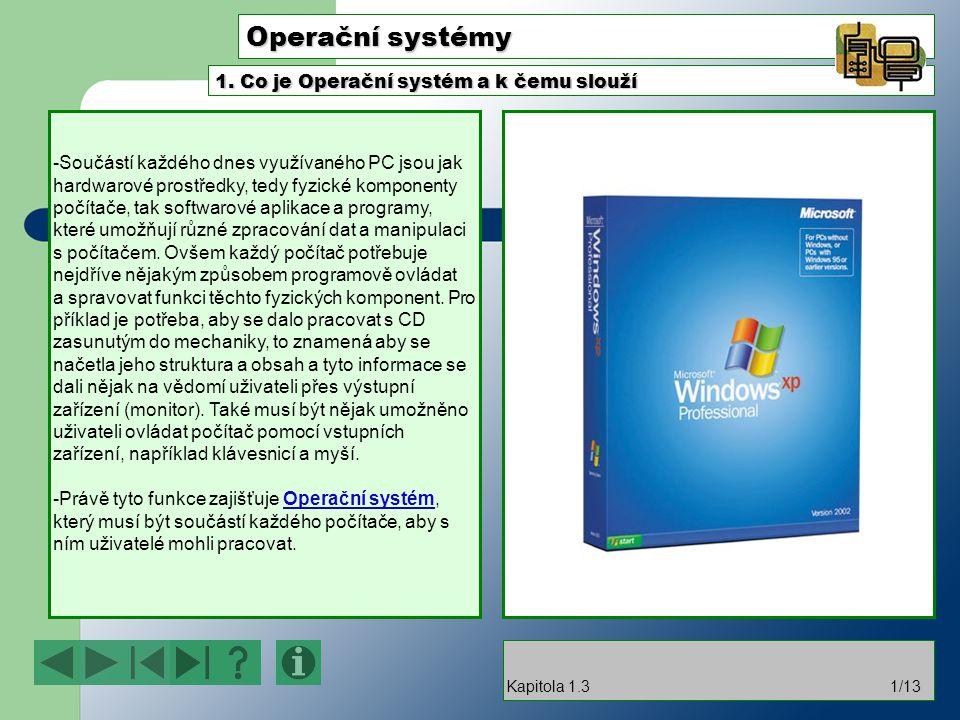 Operační systémy -Součástí každého dnes využívaného PC jsou jak hardwarové prostředky, tedy fyzické komponenty počítače, tak softwarové aplikace a pro