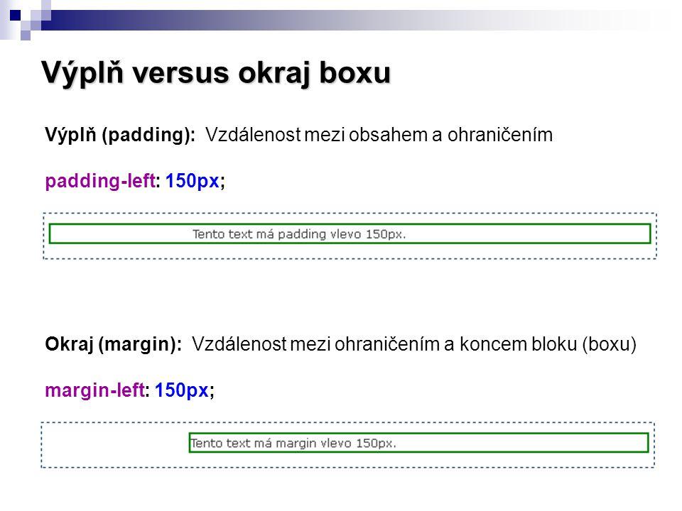Výplň versus okraj boxu Výplň (padding): Vzdálenost mezi obsahem a ohraničením padding-left: 150px; Okraj (margin): Vzdálenost mezi ohraničením a konc