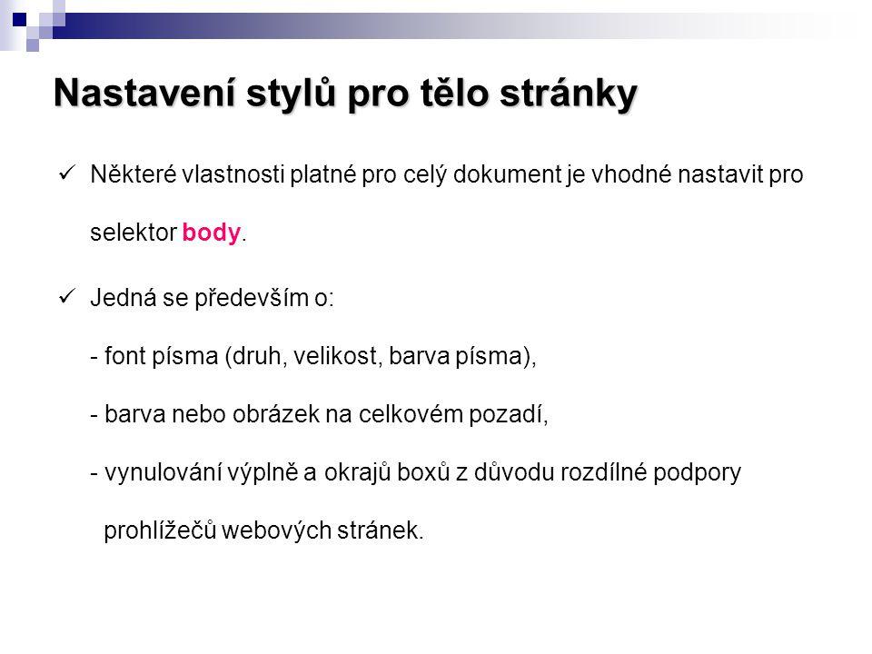 Nastavení stylů pro tělo stránky  Některé vlastnosti platné pro celý dokument je vhodné nastavit pro selektor body.  Jedná se především o: - font pí