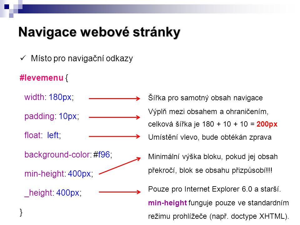 Navigace webové stránky  Místo pro navigační odkazy #levemenu { width: 180px; padding: 10px; float: left; background-color: #f96; min-height: 400px;