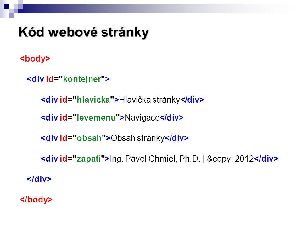 Kód webové stránky Hlavička stránky Navigace Obsah stránky Ing. Pavel Chmiel, Ph.D. | © 2012