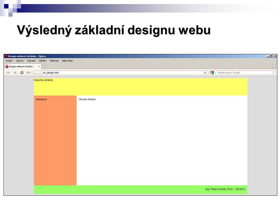 Výsledný základní designu webu