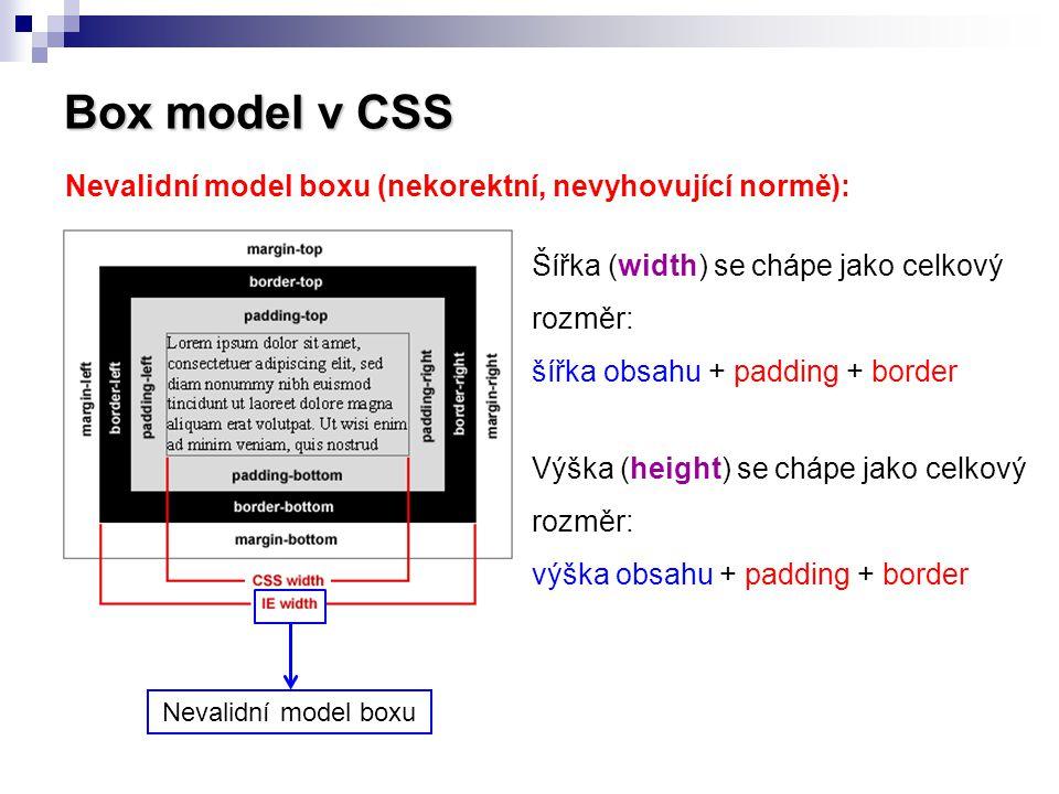 Box model v CSS Nevalidní model boxu (nekorektní, nevyhovující normě): Šířka (width) se chápe jako celkový rozměr: šířka obsahu + padding + border Výš