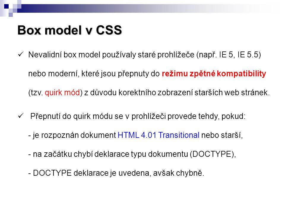 Box model v CSS  Nevalidní box model používaly staré prohlížeče (např. IE 5, IE 5.5) nebo moderní, které jsou přepnuty do režimu zpětné kompatibility