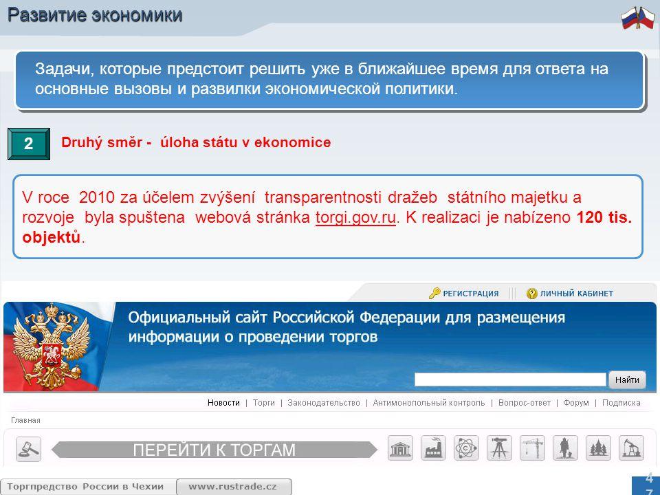 www.rustrade.cz Торгпредство России в Чехии 47 Задачи, которые предстоит решить уже в ближайшее время для ответа на основные вызовы и развилки экономической политики.