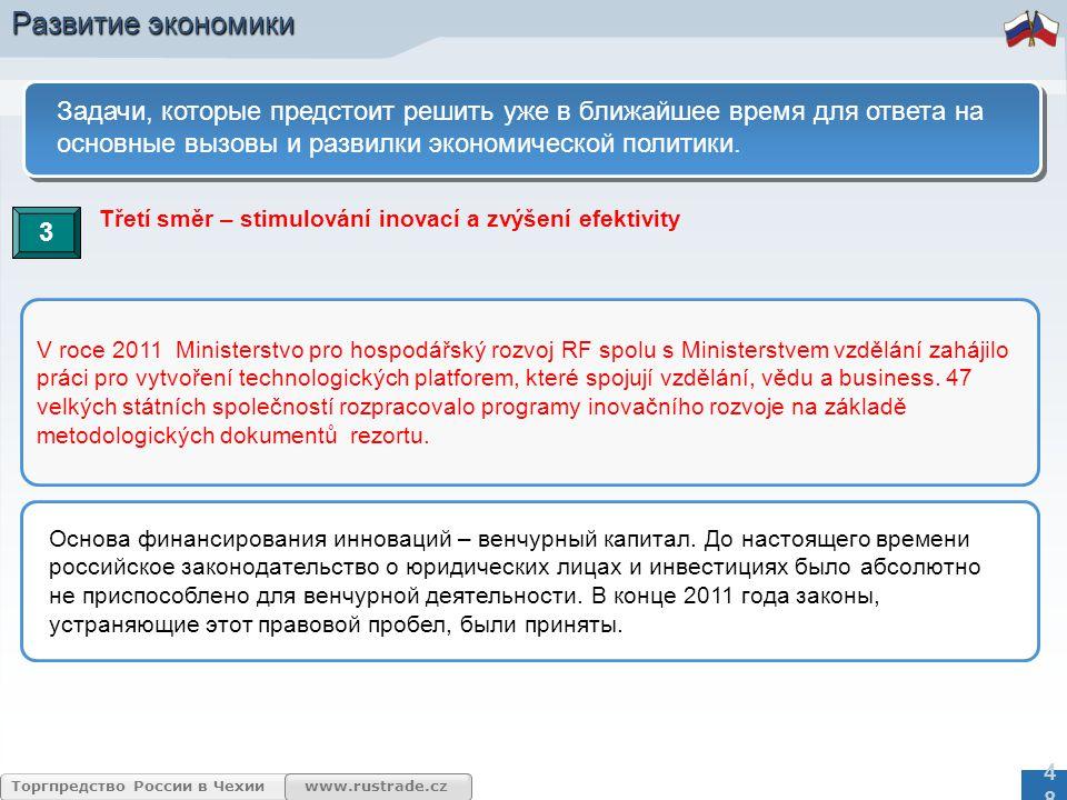 www.rustrade.cz Торгпредство России в Чехии 48 Задачи, которые предстоит решить уже в ближайшее время для ответа на основные вызовы и развилки экономической политики.