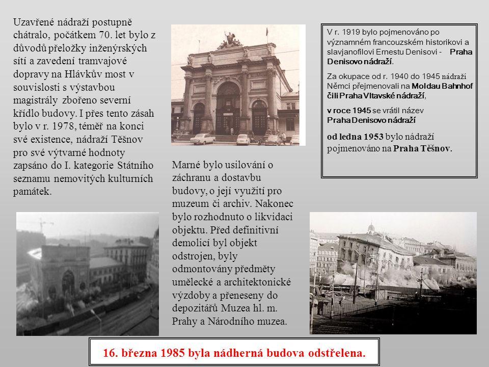 Nádraží TĚŠNOV bylo vybudováno v letech 1872 - 75 jako konečná stanice tehdy dostavěné Severozápadní dráhy v místě, kde jako součást městského opevněn