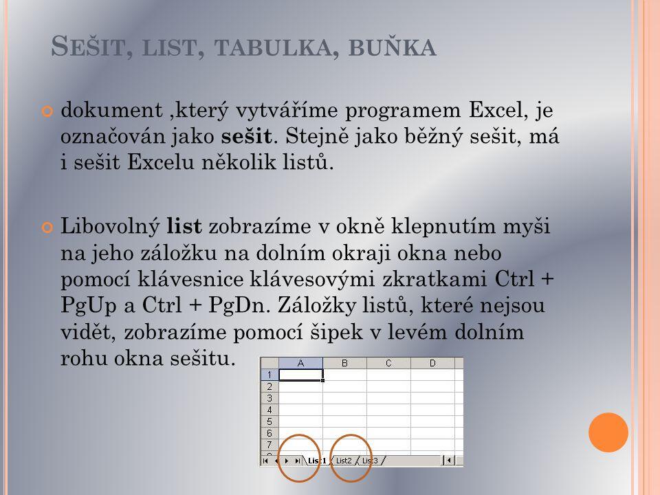 Na každém listě nového sešitu je stejná prázdná tabulka.