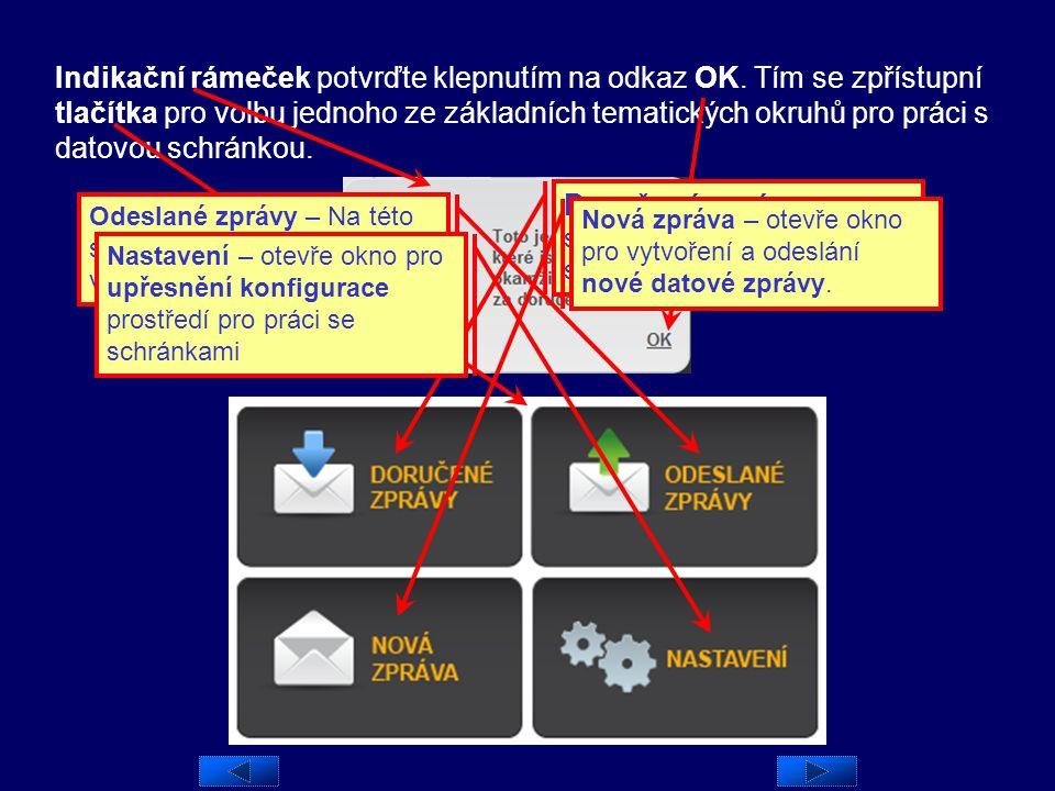 Úvodní (domácí) stránka Při vstupu do prostředí datových stránek se zobrazí takzvaná domácí stránka. Nejprve se ukáže zpráva, zda máte od posledního p