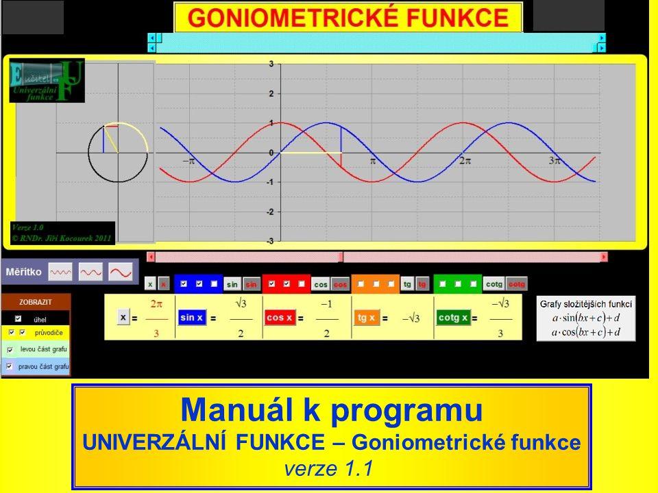 Manuál k programu UNIVERZÁLNÍ FUNKCE – Goniometrické funkce verze 1.1