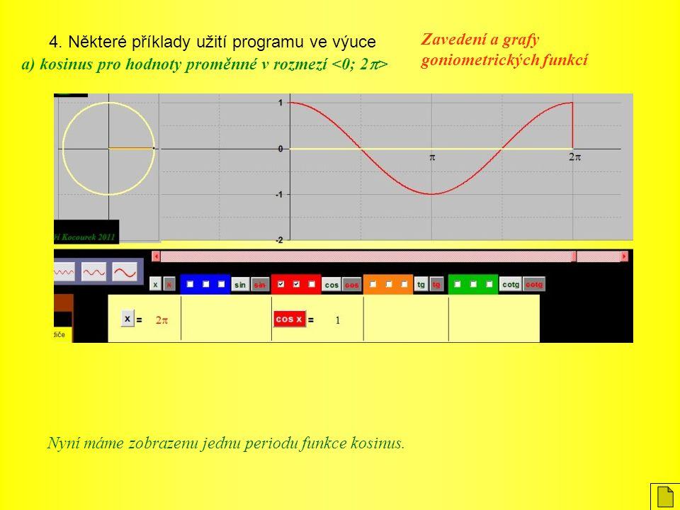 4. Některé příklady užití programu ve výuce Zavedení a grafy goniometrických funkcí a) kosinus pro hodnoty proměnné v rozmezí Nyní máme zobrazenu jedn