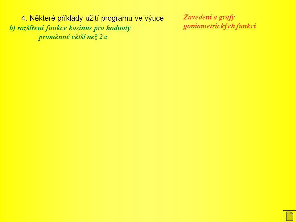 4. Některé příklady užití programu ve výuce Zavedení a grafy goniometrických funkcí b) rozšíření funkce kosinus pro hodnoty proměnné větší než 2 