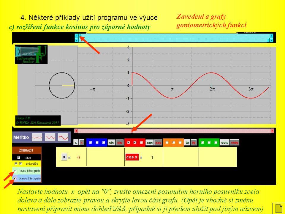 4. Některé příklady užití programu ve výuce Zavedení a grafy goniometrických funkcí c) rozšíření funkce kosinus pro záporné hodnoty Nastavte hodnotu x