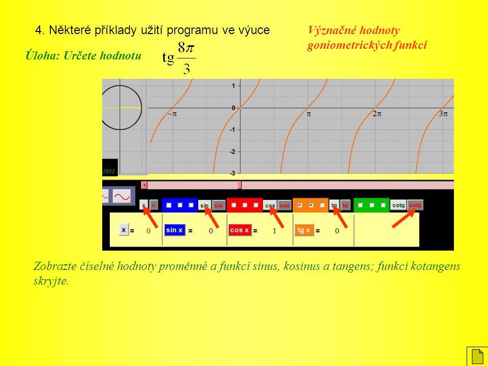 4. Některé příklady užití programu ve výuce Význačné hodnoty goniometrických funkcí Úloha: Určete hodnotu Zobrazte číselné hodnoty proměnné a funkcí s