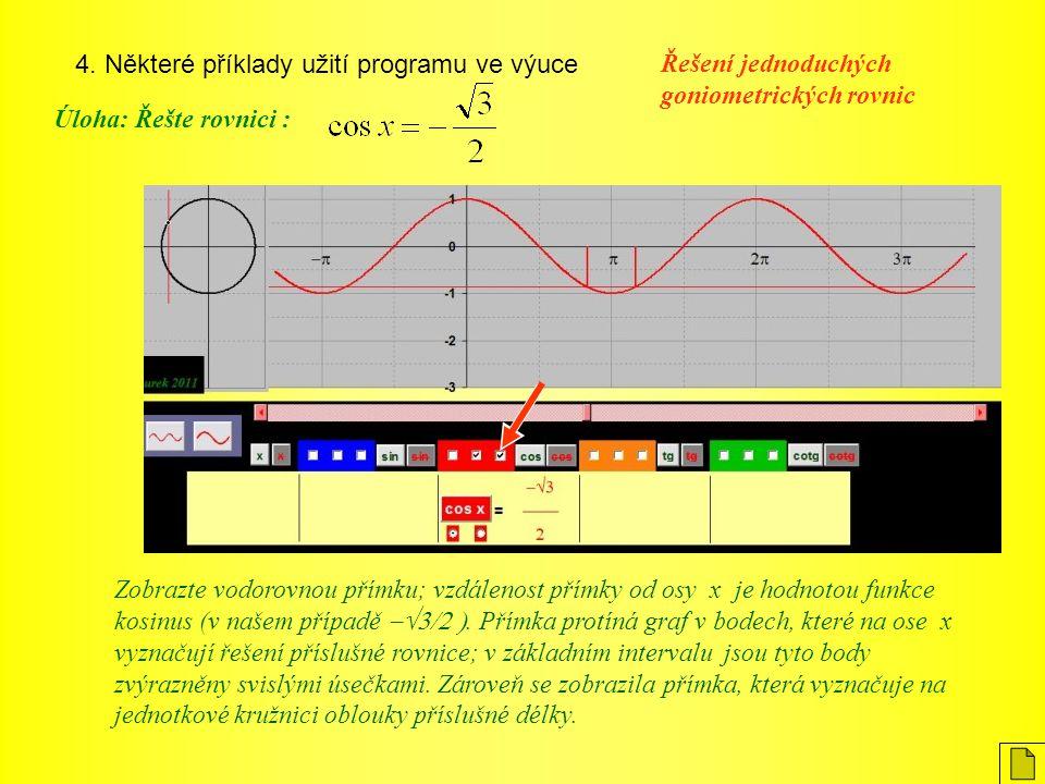 4. Některé příklady užití programu ve výuce Úloha: Řešte rovnici : Řešení jednoduchých goniometrických rovnic Zobrazte vodorovnou přímku; vzdálenost p
