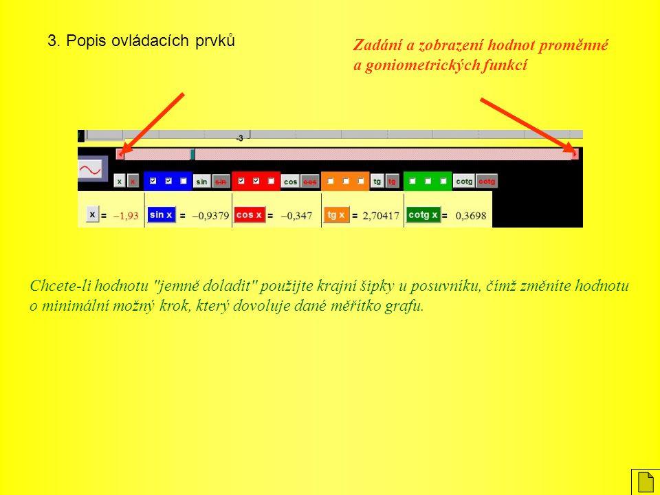 3. Popis ovládacích prvků Zadání a zobrazení hodnot proměnné a goniometrických funkcí Chcete-li hodnotu