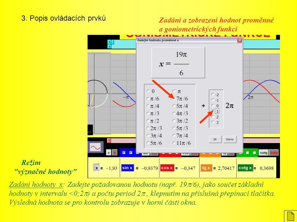 3. Popis ovládacích prvků Zadání hodnoty x: Zadejte požadovanou hodnotu (např. 19  /6), jako součet základní hodnoty v intervalu <0;2  ) a počtu per