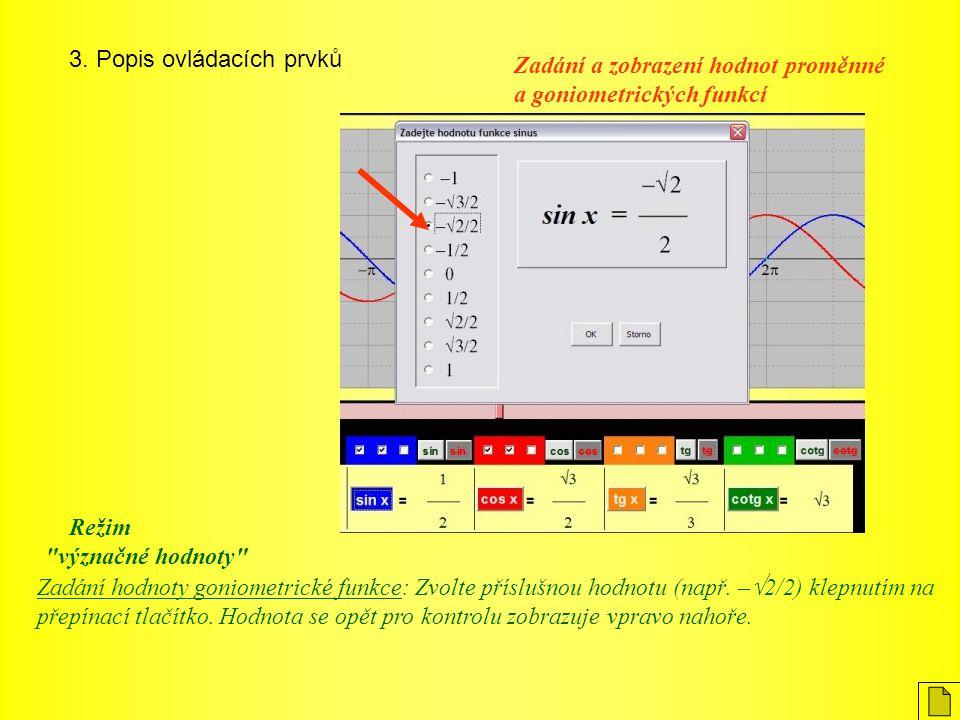 3. Popis ovládacích prvků Zadání hodnoty goniometrické funkce: Zvolte příslušnou hodnotu (např. –  2/2) klepnutím na přepínací tlačítko. Hodnota se o