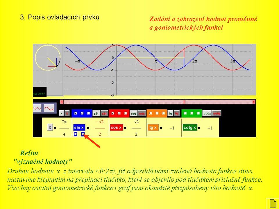 3. Popis ovládacích prvků Druhou hodnotu x z intervalu <0;2  ), jíž odpovídá námi zvolená hodnota funkce sinus, nastavíme klepnutím na přepínací tlač