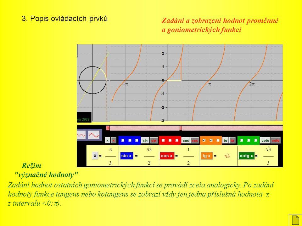 3. Popis ovládacích prvků Zadání hodnot ostatních goniometrických funkcí se provádí zcela analogicky. Po zadání hodnoty funkce tangens nebo kotangens