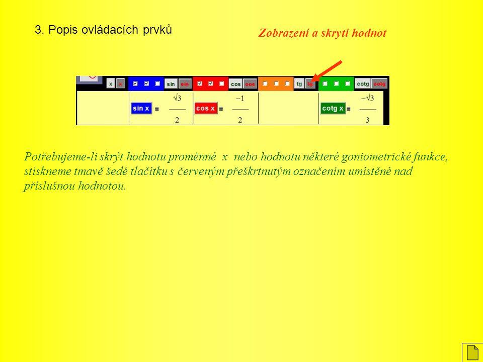 3. Popis ovládacích prvků Zobrazení a skrytí hodnot Potřebujeme-li skrýt hodnotu proměnné x nebo hodnotu některé goniometrické funkce, stiskneme tmavě