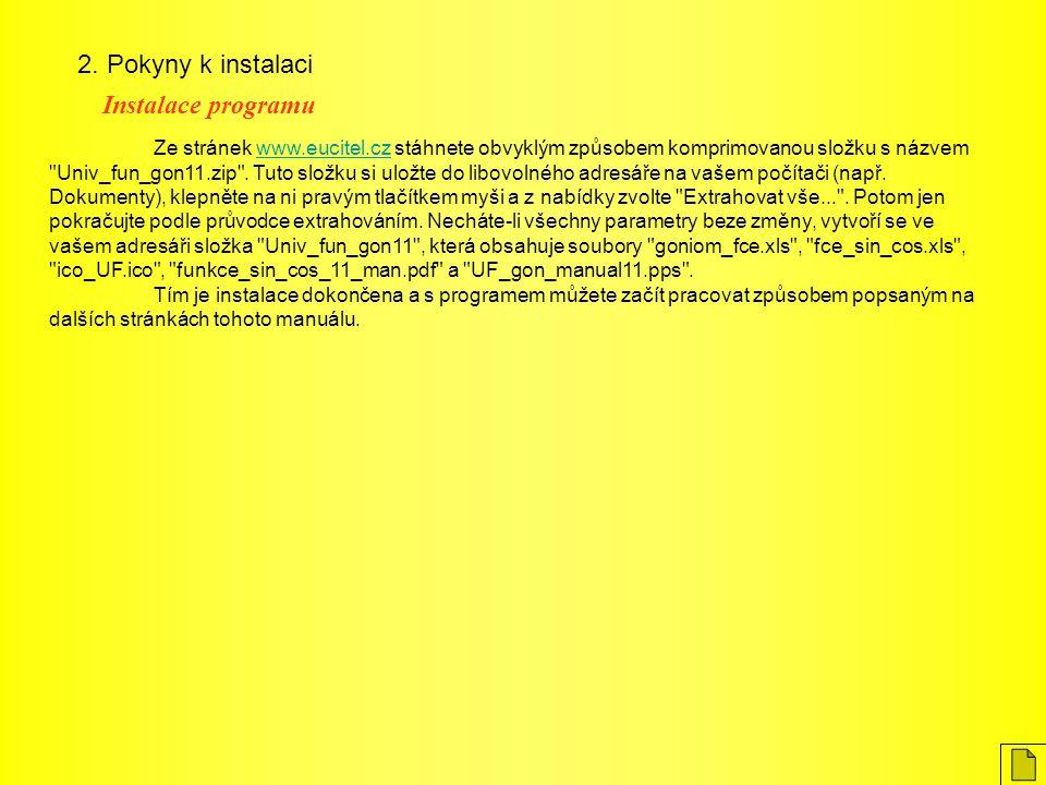 2. Pokyny k instalaci Instalace programu Ze stránek www.eucitel.cz stáhnete obvyklým způsobem komprimovanou složku s názvem