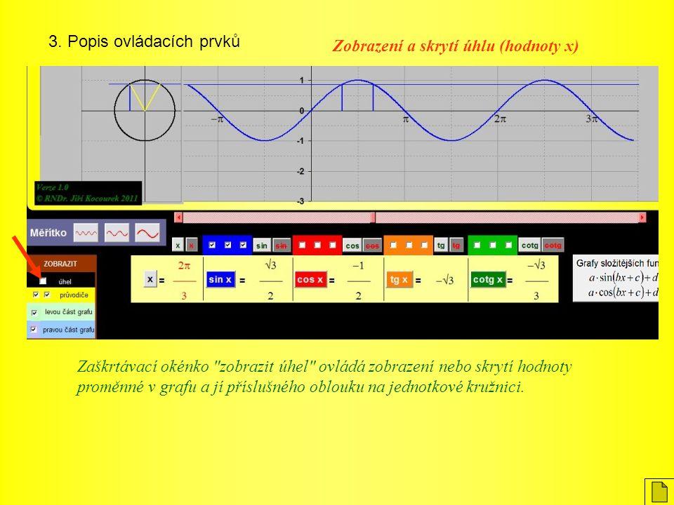 3. Popis ovládacích prvků Zobrazení a skrytí úhlu (hodnoty x) Zaškrtávací okénko