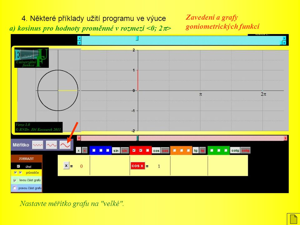 4. Některé příklady užití programu ve výuce Zavedení a grafy goniometrických funkcí a) kosinus pro hodnoty proměnné v rozmezí Nastavte měřítko grafu n