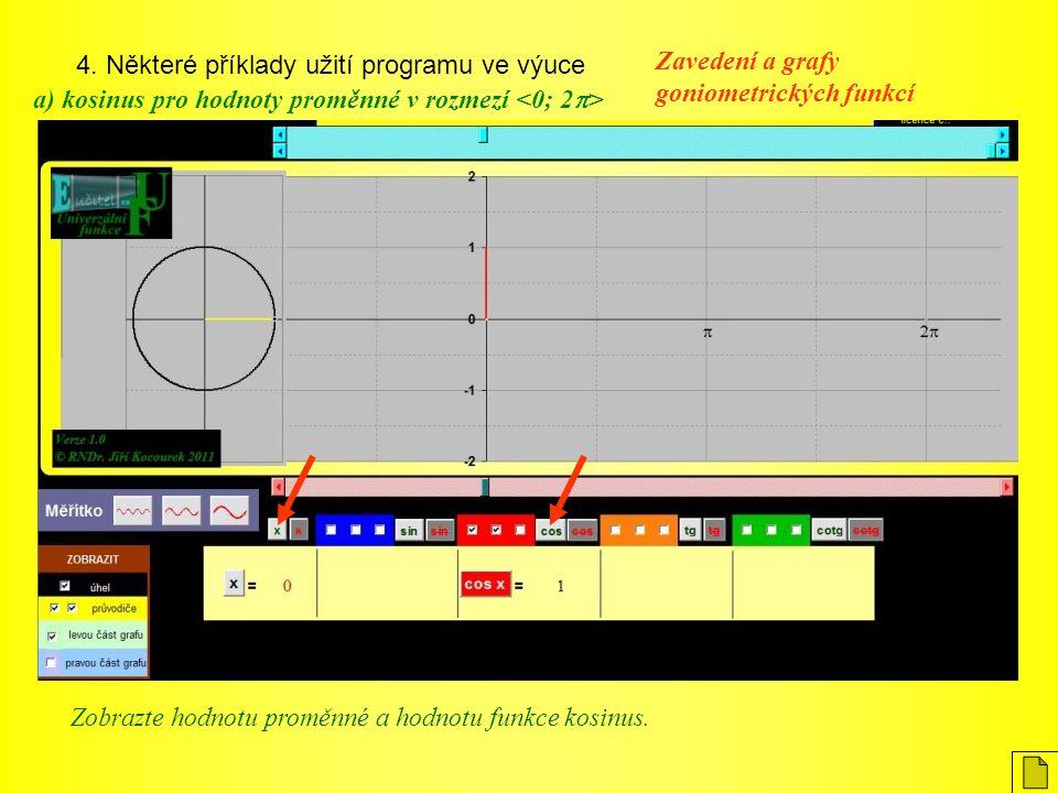 4. Některé příklady užití programu ve výuce Zavedení a grafy goniometrických funkcí a) kosinus pro hodnoty proměnné v rozmezí Zobrazte hodnotu proměnn