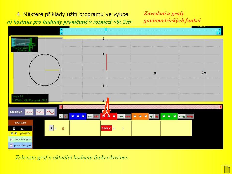 4. Některé příklady užití programu ve výuce Zavedení a grafy goniometrických funkcí a) kosinus pro hodnoty proměnné v rozmezí Zobrazte graf a aktuální