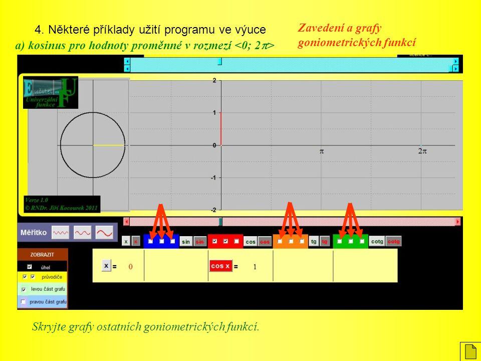 4. Některé příklady užití programu ve výuce Zavedení a grafy goniometrických funkcí a) kosinus pro hodnoty proměnné v rozmezí Skryjte grafy ostatních