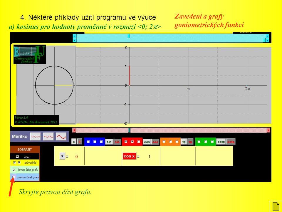 4. Některé příklady užití programu ve výuce Zavedení a grafy goniometrických funkcí a) kosinus pro hodnoty proměnné v rozmezí Skryjte pravou část graf