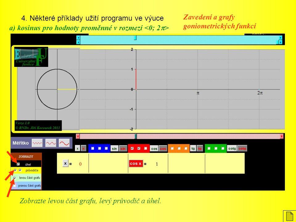 4. Některé příklady užití programu ve výuce Zavedení a grafy goniometrických funkcí a) kosinus pro hodnoty proměnné v rozmezí Zobrazte levou část graf