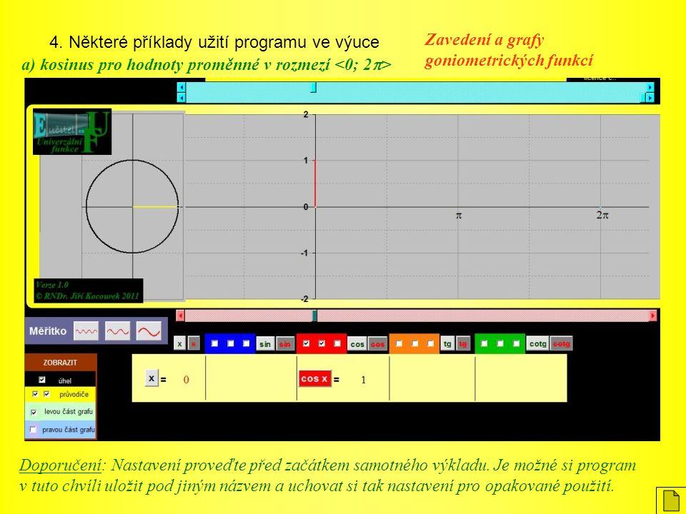 4. Některé příklady užití programu ve výuce Zavedení a grafy goniometrických funkcí a) kosinus pro hodnoty proměnné v rozmezí Doporučení: Nastavení pr