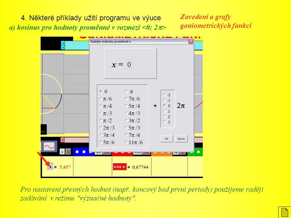4. Některé příklady užití programu ve výuce Zavedení a grafy goniometrických funkcí a) kosinus pro hodnoty proměnné v rozmezí Pro nastavení přesných h