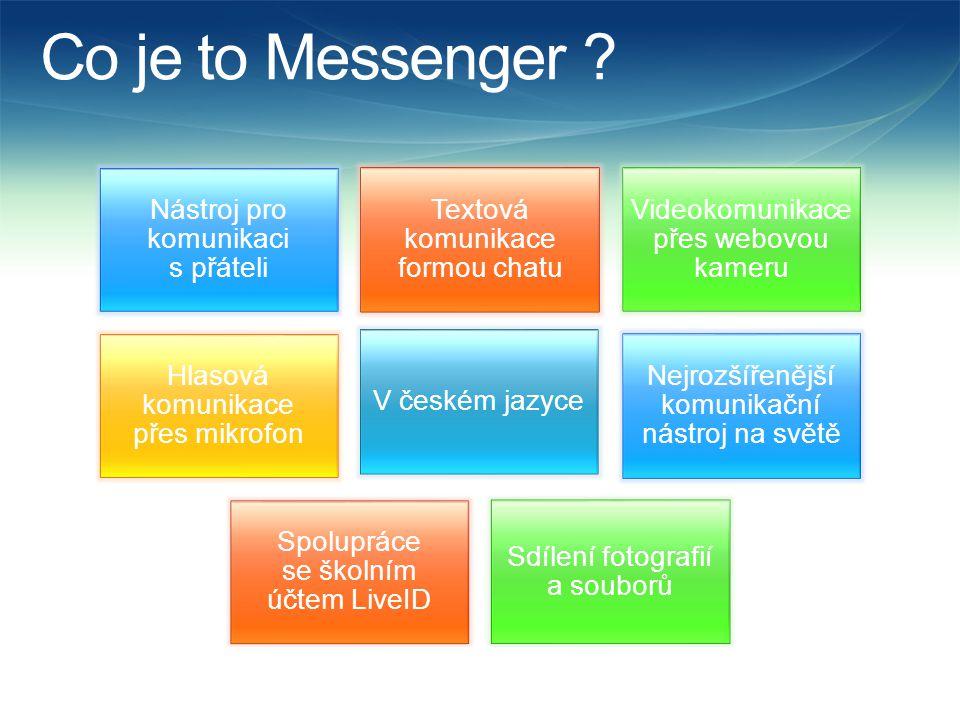Co je to Messenger ? Nástroj pro komunikaci s přáteli Textová komunikace formou chatu Videokomunikace přes webovou kameru Hlasová komunikace přes mikr