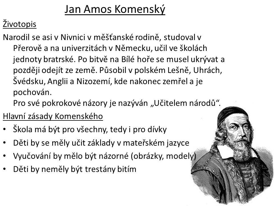 Jan Amos Komenský Životopis Narodil se asi v Nivnici v měšťanské rodině, studoval v Přerově a na univerzitách v Německu, učil ve školách jednoty bratr