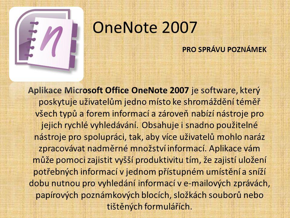 OneNote 2007 Aplikace Microsoft Office OneNote 2007 je software, který poskytuje uživatelům jedno místo ke shromáždění téměř všech typů a forem inform