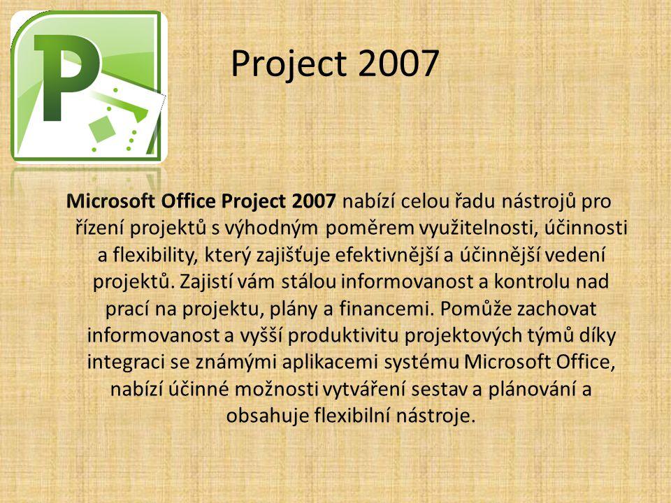 Project 2007 Microsoft Office Project 2007 nabízí celou řadu nástrojů pro řízení projektů s výhodným poměrem využitelnosti, účinnosti a flexibility, k