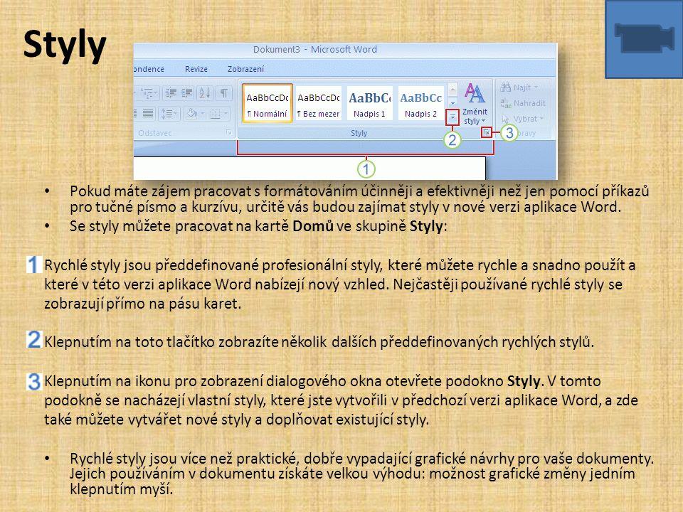 Styly • Pokud máte zájem pracovat s formátováním účinněji a efektivněji než jen pomocí příkazů pro tučné písmo a kurzívu, určitě vás budou zajímat sty