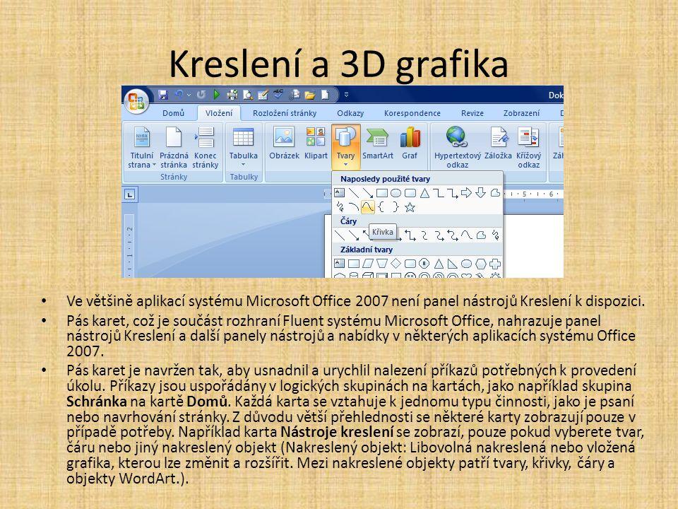 Kreslení a 3D grafika • Ve většině aplikací systému Microsoft Office 2007 není panel nástrojů Kreslení k dispozici. • Pás karet, což je součást rozhra