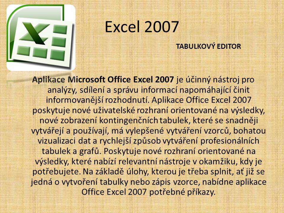Excel 2007 Aplikace Microsoft Office Excel 2007 je účinný nástroj pro analýzy, sdílení a správu informací napomáhající činit informovanější rozhodnutí