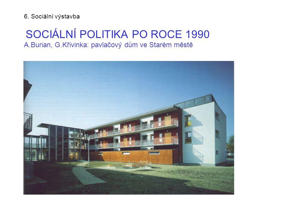 6. Sociální výstavba SOCIÁLNÍ POLITIKA PO ROCE 1990 A.Burian, G.Křivinka: pavlačový dům ve Starém městě
