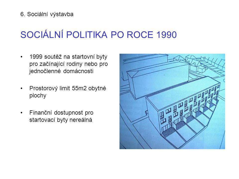 6. Sociální výstavba SOCIÁLNÍ POLITIKA PO ROCE 1990 •1999 soutěž na startovní byty pro začínající rodiny nebo pro jednočlenné domácnosti •Prostorový l