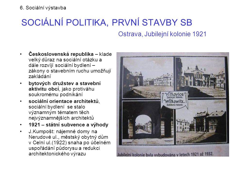 6. Sociální výstavba SOCIÁLNÍ POLITIKA, PRVNÍ STAVBY SB Ostrava, Jubilejní kolonie 1921 •Československá republika – klade velký důraz na sociální otáz